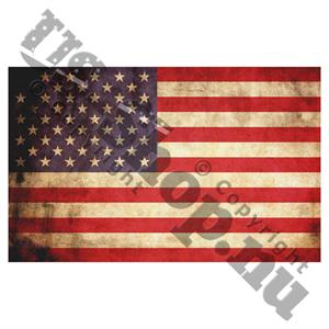 Bildekal med patinerad Stars and Stripes flagga, 7 x 12 cm, Made in USA