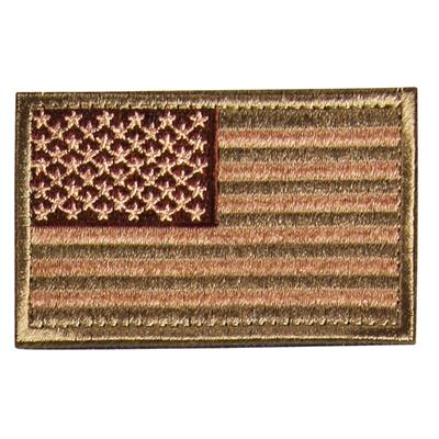 Velcro patch med USA flaga i beige, brun och army