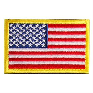 Velcro patch med USA flagga och gul kant