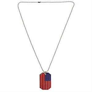 Halskedja med USA flag dog tag