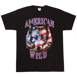 T-shirt med Stars and Stripes varg, Fruit of the Loom