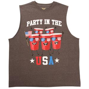 Linne med Red Cups med Stars and Stripes, Faded Glory, grå