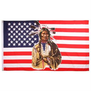 USA flagga med indian, 90 x 150 cm