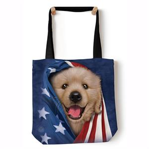 Shopping bag med Hundvalp och Stars and Stripes