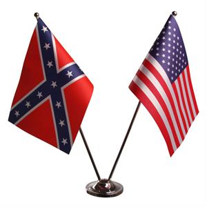 Confederate och Stars & Stripes Dubbel Bordflagga