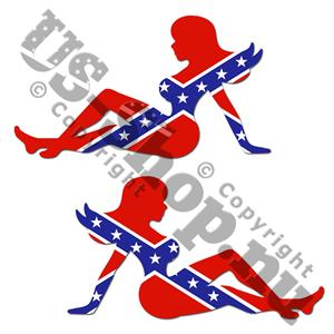 Rebel flag Mudflap Girls bildekaler, 2 st.