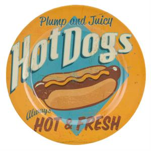 Tallrik i melamin, USA retro design, Hot Dogs, 20 cm